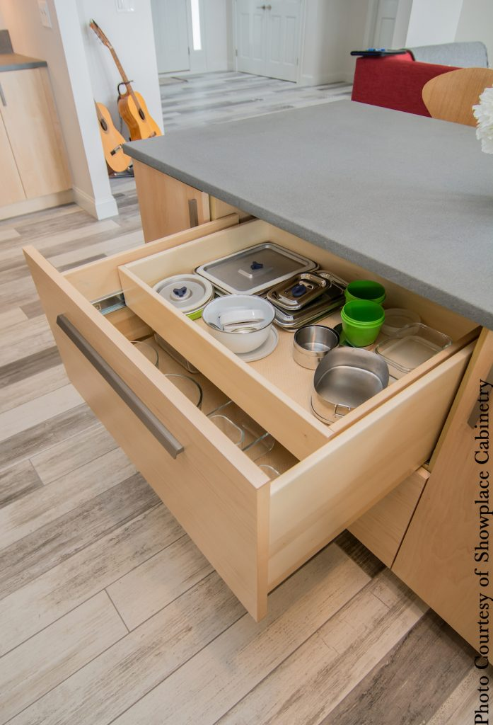 double-layer, deep drawer storage by Showplace Cabinetry