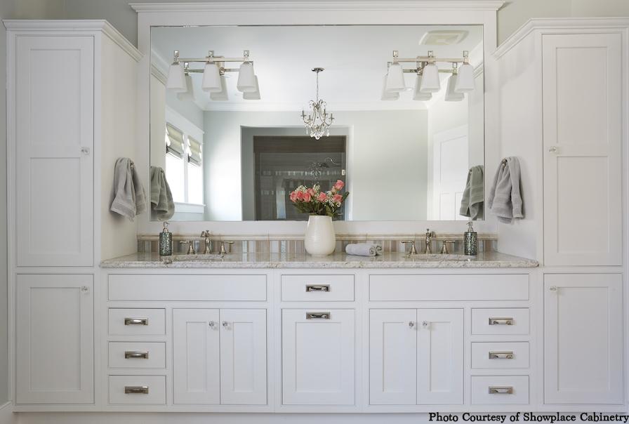 Bathroom wall of custom storage, white cabinets, vanity