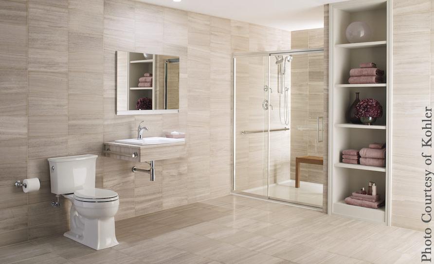 Universal design bathroom, accessible shower, vanity, hand grips